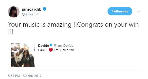Cardi B describes Davido