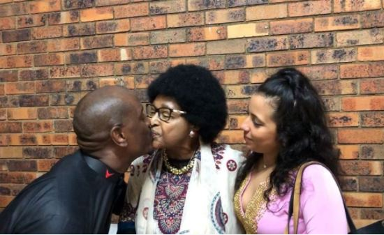 Tyrese Gibson kisses Winnie Mandela on the lips after gifting her with a