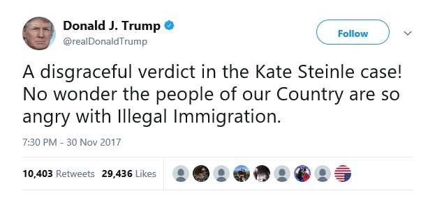 Donald Trump reacts to the acquittal of the illegal immigrant who killed US citizen Kate Steinle