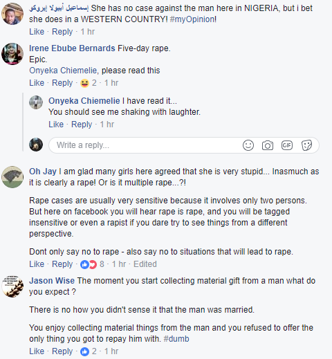 Heated argument on Facebook after lady lodged in a hotel by a married man for 5 days and was going for shopping after multiple non-consensual sex, threatens to sue him for rape