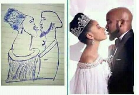 Lol. Just imagine this horrible drawing of Banky W & Adesuwa Etomi