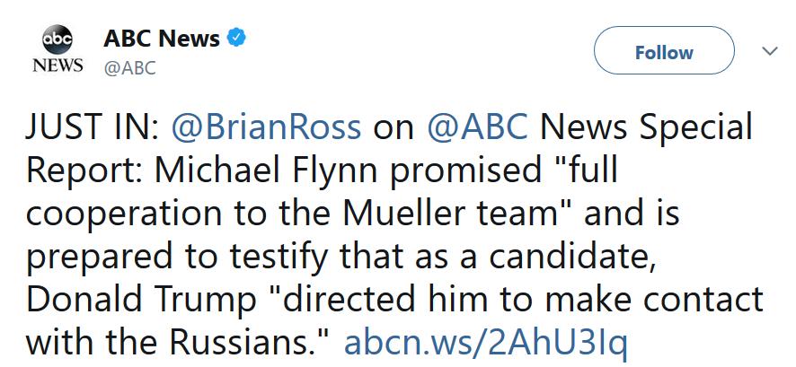 US former national security adviser, Michael Flynn, promises to testify against President Trump