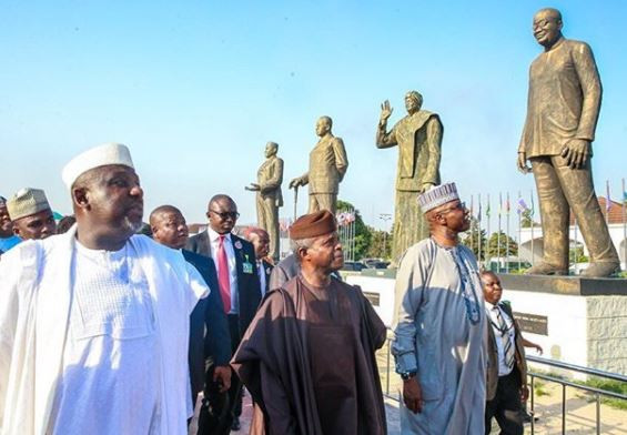 Photo: VP Yemi Osinbajo?inspects the various statues built by Governor Okorocha in?Imo State
