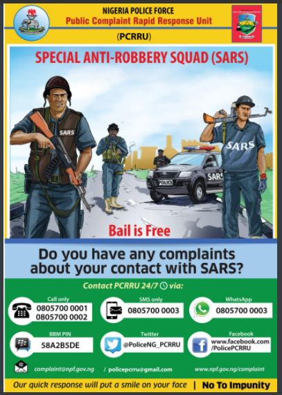 Nigerian police releases phone numbers to call in case of any complaints against?SARS operatives