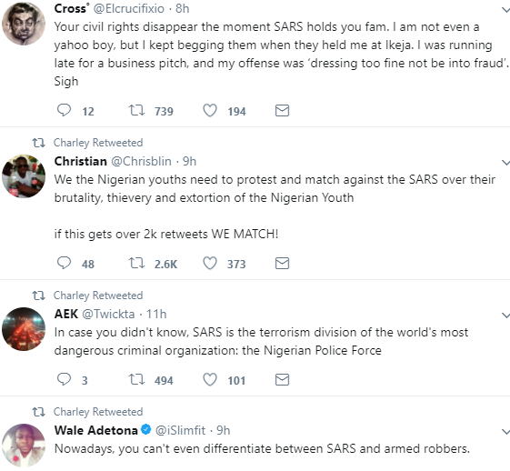 Photo/Video: Twitter users complain bitterly about the operations of SARS officials after a group of officers allegedly shot a young man dead in Yaba