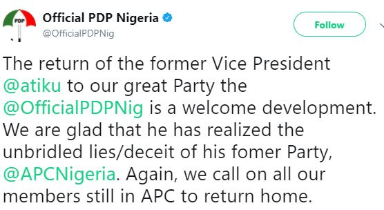 We are glad that he has realized the lies and deceit of his former Party - PDP issues statement on Atiku