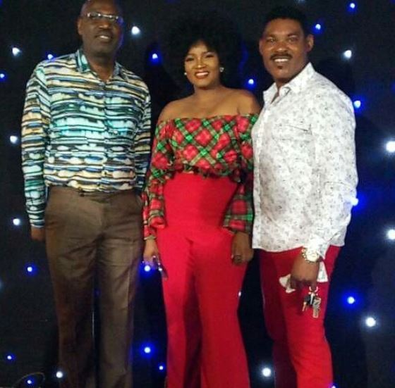 Photo | Omotola Jalade and hubby venture out for Christmas party in coordinating 'Red Pants'