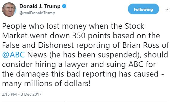 President Trump says investors should sue ABC News?