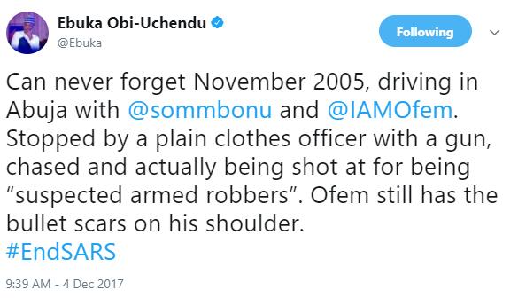 Ebuka Obi-Uchendu narrates his horrible experience with plain-clothes police men in 2005