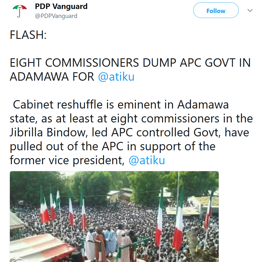 Eight commissioners dump APC govt in Adamawa state for Atiku