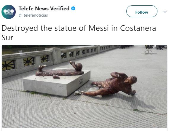 Lionel Messi?s statue in Argentina has been vandalized again!