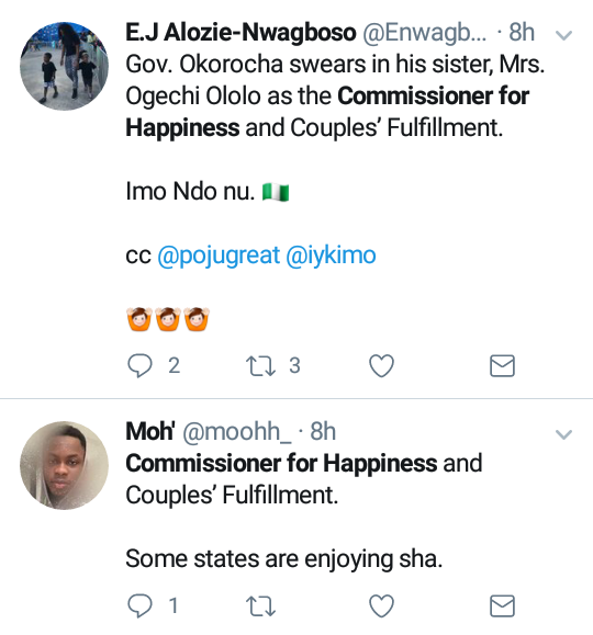 Outrage as Governor Okorocha appoints a Commissioner for Happiness and Couple