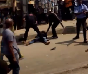 Man shares video of police officers beating up a man at Ikorodu (watch)