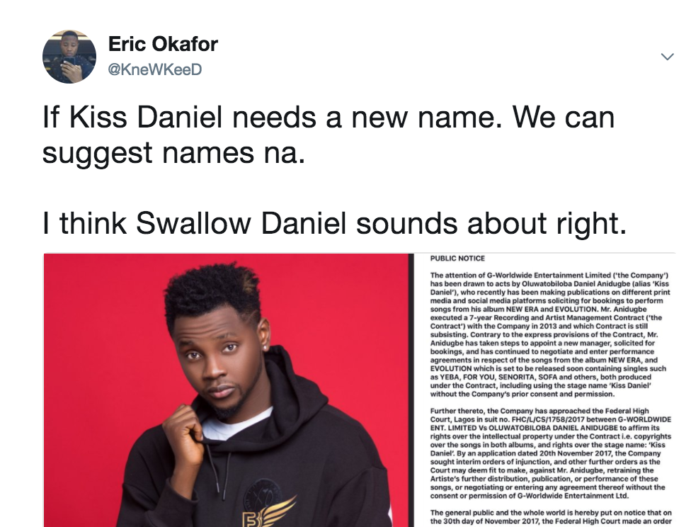 Nigerians suggest possible new names for Kiss Daniel following news of his trouble with former label, G Worldwide