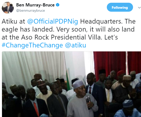 'The Eagle Has Landed .Very Soon Atiku Will Land In Aso Rock'–Says Ben Murray Bruce.
