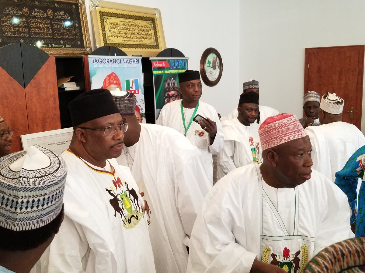 Photos: Checkout the asoebi ministers and state government officials are rocking as President Buhari visits Kano state today