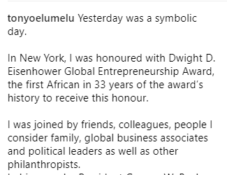 Tony Elumelu becomes the first African in history to receive the Dwight D. Eisenhower Global Entrepreneurship Award (photos)