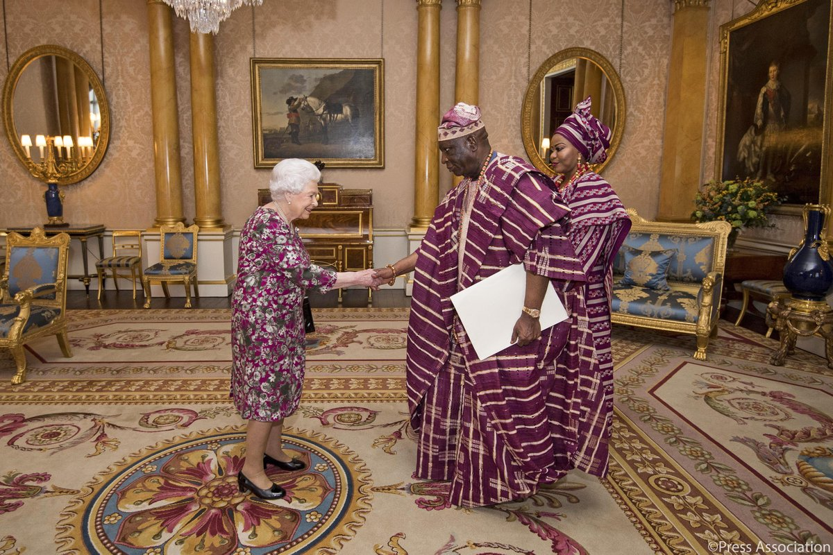 Queen Elizabeth II receives Nigeria?s High Commissioner to the UK, retired Supreme Court judge George A. Oguntade