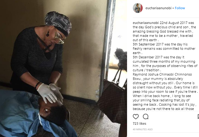 Eucharia Anunobi pens emotional tribute to her late son as she shares photo of her touching his corpse