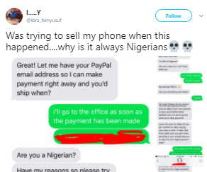 Nigerian scammer spares his victim after finding out he is also a Nigerian. See their chat!