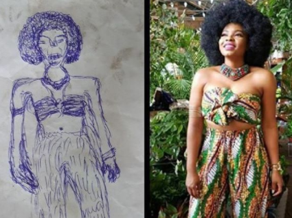 Talent gone wrong! Yemi Alade in shock after coming across a horrible drawing someone made of her outfit