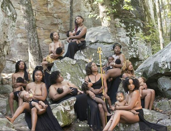 Photo Shoot Of Beautiful Topless Black Mommies Breastfeeding Their Children In Public (Photos).