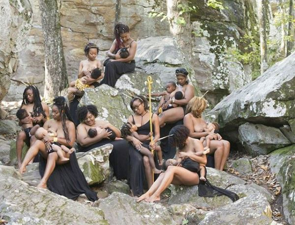 See photoshoot of topless black mothers breastfeeding their children (Photos)