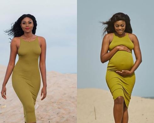 Yvonne Nelson shares side by side photo of herself, before & after pregnancy
