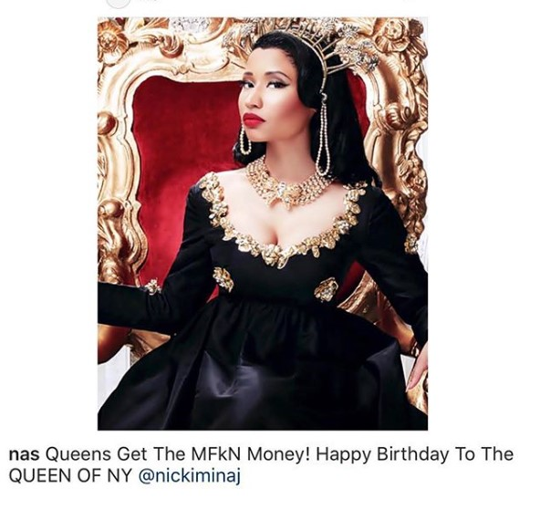 Nas wishes Nicki Minaj a happy birthday, crowns her Queen of NY