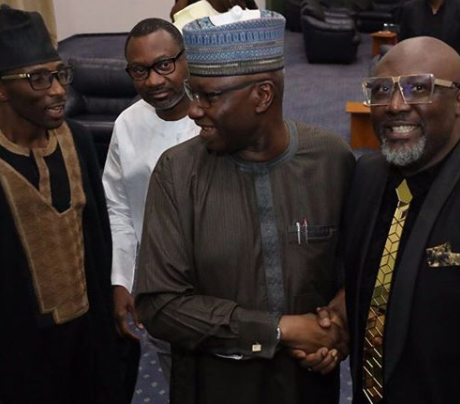 Photos: Aisha Buhari, Patience Jonathan, Obasanjo, Dino Melaye, Aliko Dangote, Femi Otedola, Chris Ngige, others at Bukola Saraki