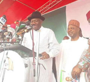 Photos of former president Goodluck Jonathan at the PDP convention