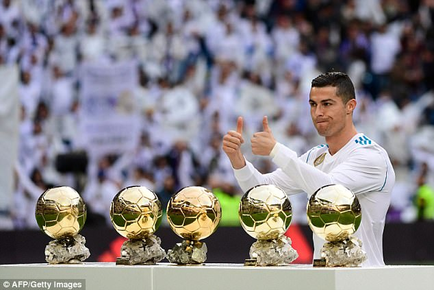 Cristiano Ronaldo poses with his five Ballon d