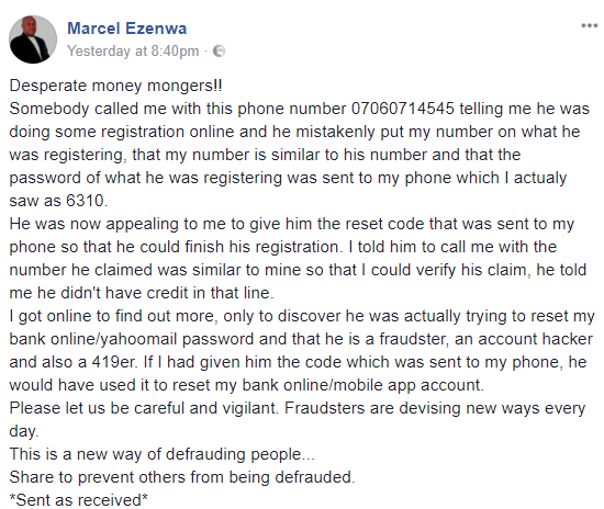 Man exposes ingenious new method scammers have devised to steal money from people