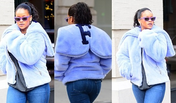 Rihanna flaunts her curves in figure-hugging jeans as she steps out in NYC (Photos)