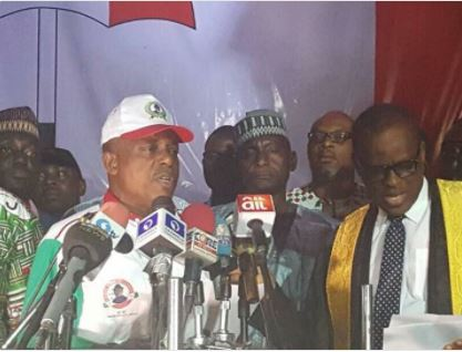 Full Speech: New PDP Chairman Uche Secondus serves President Buhari quit notice from Aso Rock