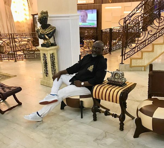 Photos: Dino Melaye shows off the vintage car packed inside his Abuja palatial home