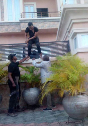 Tunde Ednut shares new throwback pic of Bobrisky being bundled out of his house in handcuffs by the Police