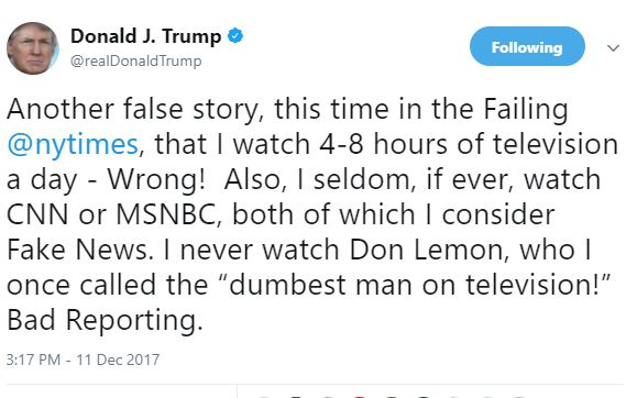 Lol! President Trump reacts to a New York Times report that he spends about 8-hours watching TV daily