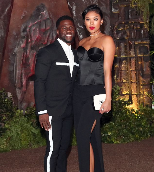 Kevin Hart and wife Eniko Parrish make first red carpet appearance just three weeks after birth of son Kenzo