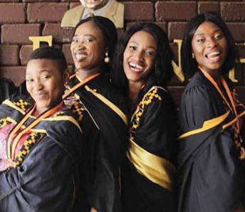 Beautiful photo of four Nigerian ladies who recently graduated with a first class