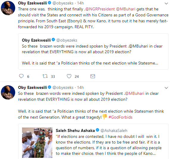 Oby Ezekwesili slams President Buhari for saying if elections are conducted again, he will win