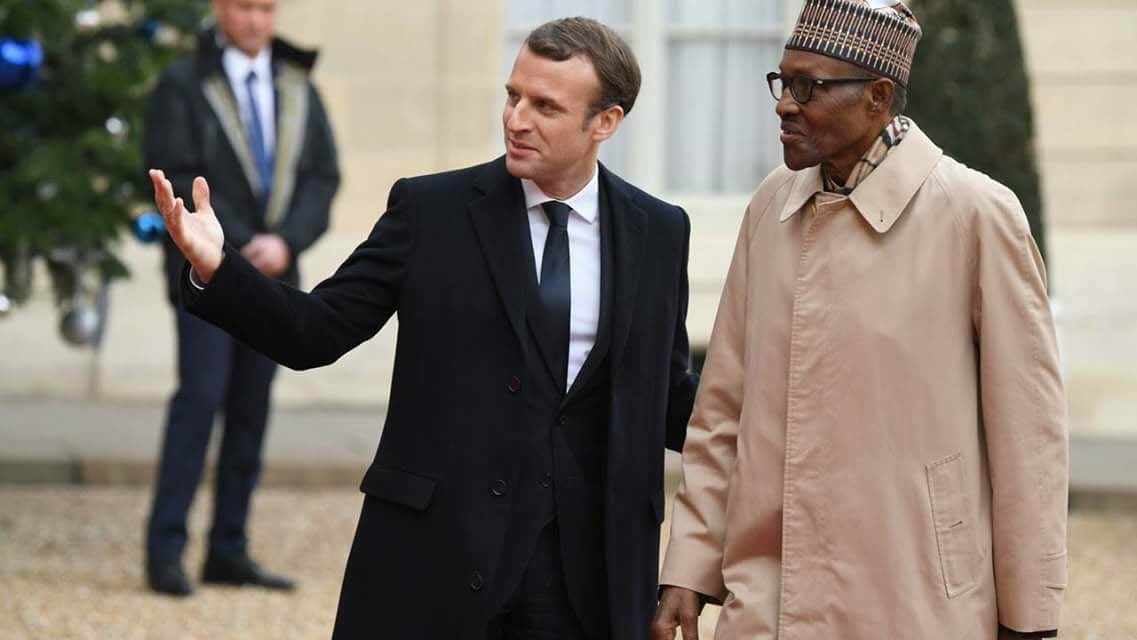 Photo of President Buhari with French president, Emmanuel Macron, in Paris