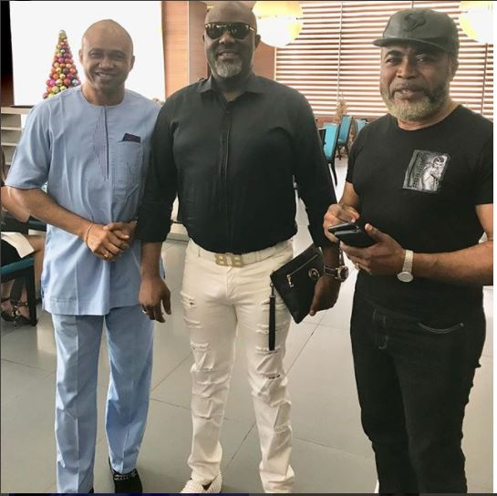 Senator Dino Melaye poses for a photo with Nollywood icons, Paul Obazele and Zack Orji but his fans notice a little more (Photos)