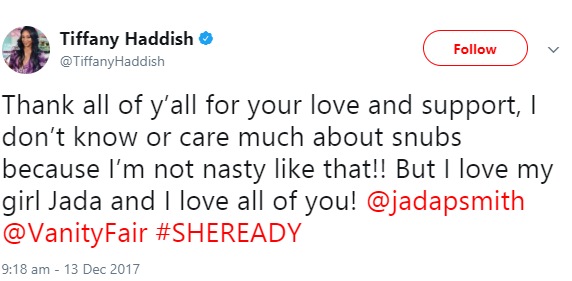 """I love my girl Jada"": Tiffany Haddish responds to Jada Pinkett Smith"