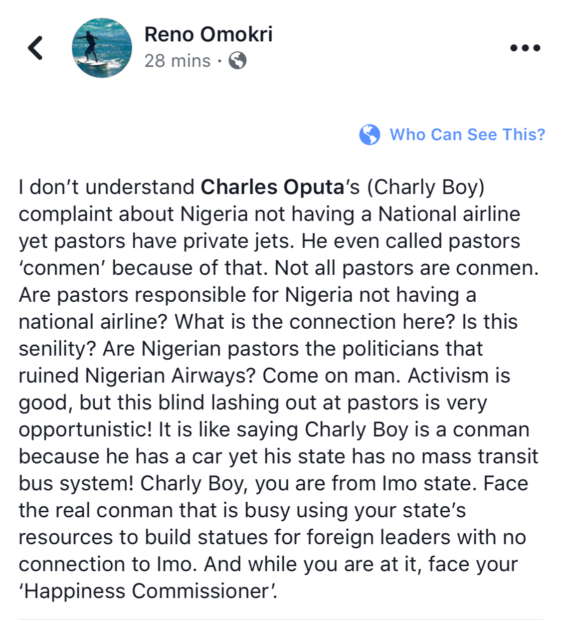 On Charly Boy Calling Pastors Conmen for Having Private Jets- Reno Omokri responds