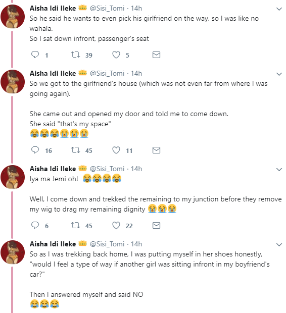Lady narrates how she was asked to come down from the front seat of her male friend