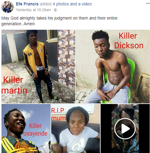 Italy-based Nigerian man accuses his nephews of killing his mum, their grandmother, in Edo (photos)