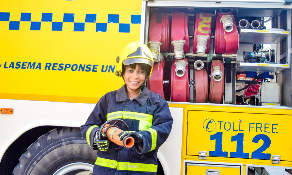 Photos: Check out this young female firefighter working to rescue people in Lagos