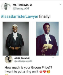 """What is your groom price? I want to put a ring on it"" Lady comments to on a handsome barrister"