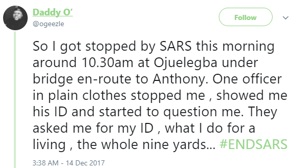 Twitter user campaigning for #ENDSARS , shares his interesting encounter with SARS officers in Lagos